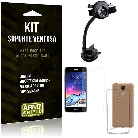 Suporte Ventosa Auto LG K8 Novo Suporte + Capa Silicone + Película Vidro - Armyshield