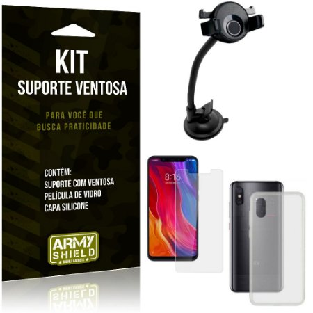 Suporte Ventosa Auto Xiaomi Mi 8 Pro Suporte + Capa Silicone + Película Vidro - Armyshield