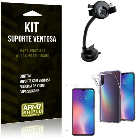 Suporte Ventosa Auto Xiaomi Mi 9 Suporte + Capa Silicone + Película Vidro - Armyshield