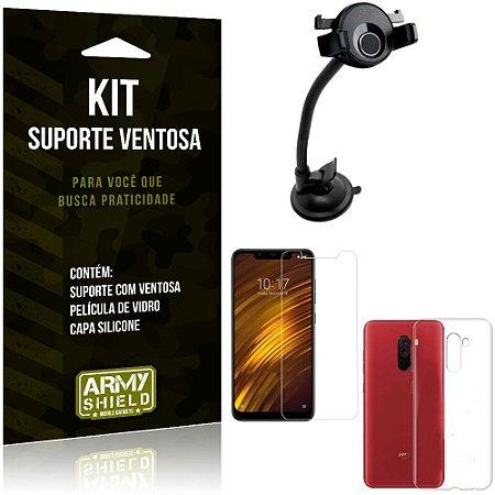 Suporte Ventosa Auto Xiaomi Pocophone F1 Suporte + Capa Silicone + Película Vidro - Armyshield