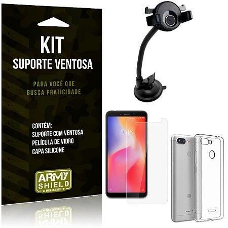 Suporte Ventosa Auto Xiaomi Redmi 6 Suporte + Capa Silicone + Película Vidro - Armyshield
