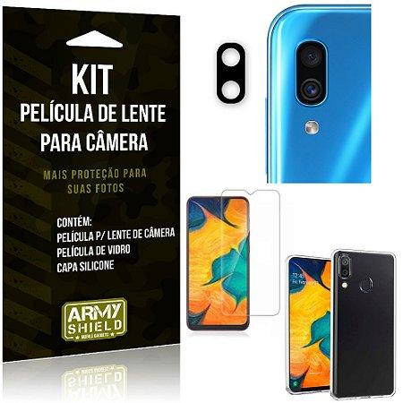 Película Flexível para Câmera Galaxy A30 Película + Capa Silicone + Película Vidro - Armyshield