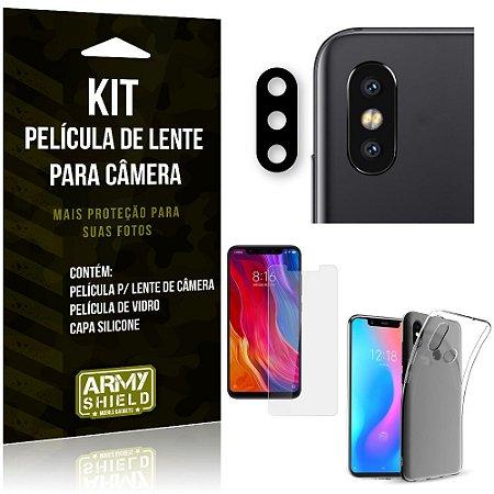 Película Flexível para Câmera Xiaomi Mi 8 Película + Capa Silicone + Película Vidro - Armyshield