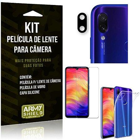 Película Flexível para Câmera Redmi Note 7 Pro Película + Capa Silicone +Película Vidro - Armyshield