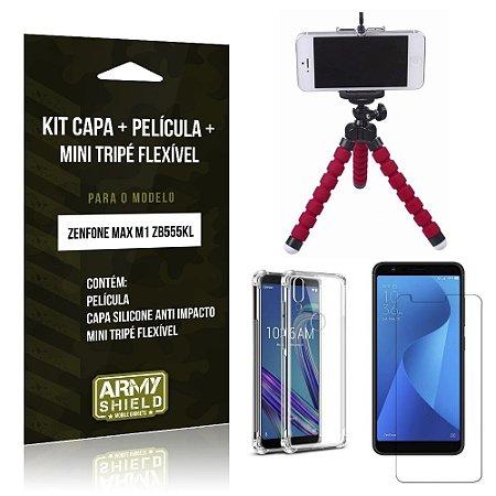 Kit Mini Tripé Flexível Zenfone Max M1 ZB555KL Tripé + Capa Anti Impact +Película Vidro - Armyshield