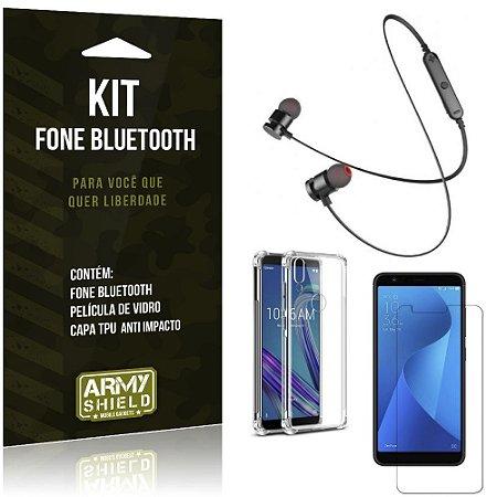 Kit Fone Bluetooth Sport 901 Zenfone Max M1 ZB555KL Fone + Capa Anti + Película Vidro - Armyshield