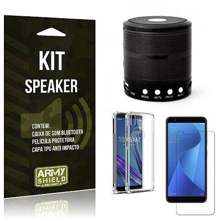 Kit Mini Speaker Zenfone Max M1 ZB555KL Caixa de Som Bluetooth + Capa Anti + Película - Armyshield