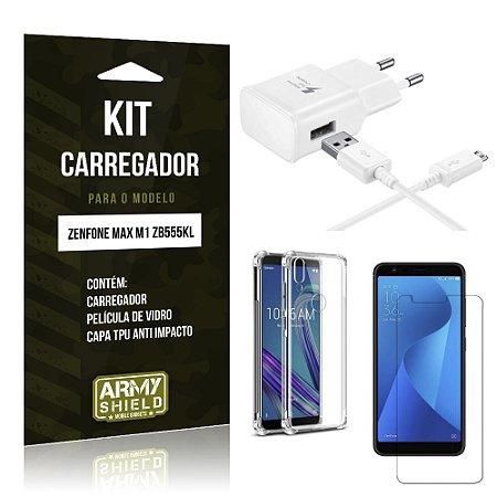 Kit Carregador Zenfone Max M1 ZB555KL Carregador + Capinha Anti Impacto +Película Vidro - Armyshield