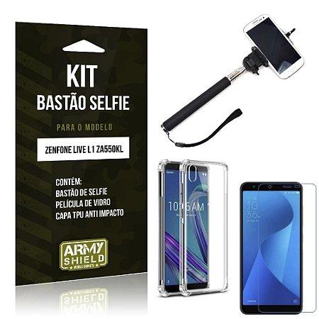 Kit Bastão de Selfie Zenfone Live L1 ZA550KL Bastão + Capinha Anti + Película Vidro - Armyshield