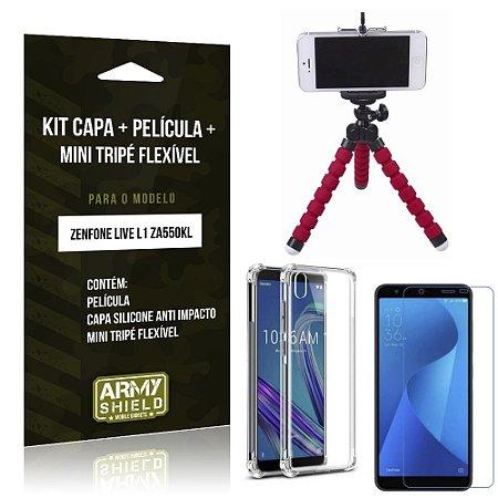 Kit Mini Tripé Flexível Zenfone Live L1 ZA550KL Tripé + Capinha Anti + Película Vidro - Armyshield
