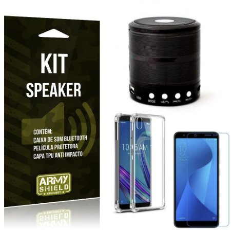 Kit Mini Speaker Zenfone Live L1 ZA550KL Caixa Som Bluetooth +Capa Anti +Película Vidro - Armyshield