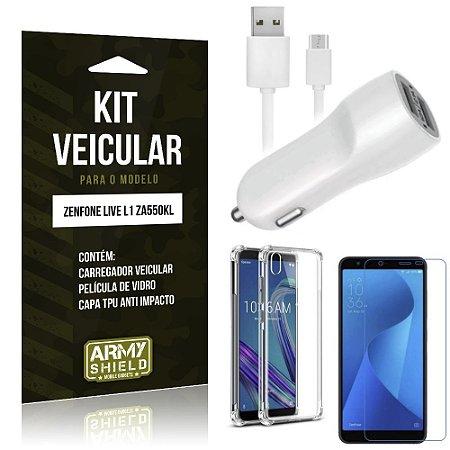Kit Carregador Veicular Zenfone Live L1 ZA550KL Carregador + Capa Anti + Película Vidro - Armyshield