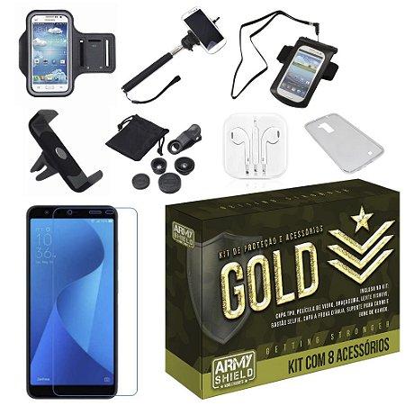 Kit Gold Zenfone Live L1 ZA550KL com 8 Acessórios - Armyshield