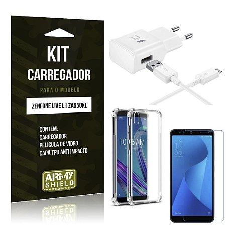 Kit Carregador Zenfone Live L1 ZA550KL Carregador + Capa Anti Impacto + Película Vidro - Armyshield