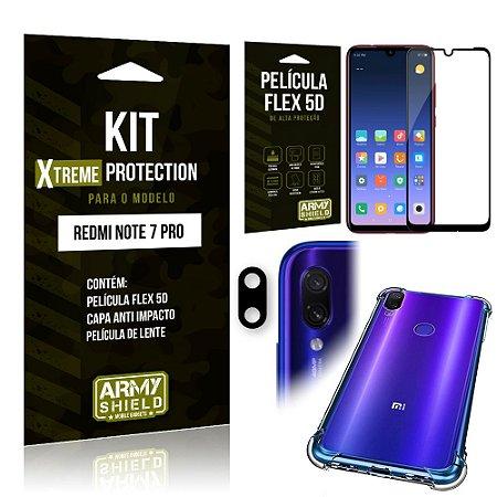 Kit Xtreme Protection Xiaomi NOTE 7 PRO Capa Anti Impacto + Película Flex 5D + Película de Lente - Armyshield