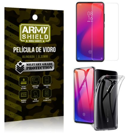 Kit Capa Silicone Xiaomi Redmi K20 Mi 9T Capa Silicone + Película de Vidro - Armyshield