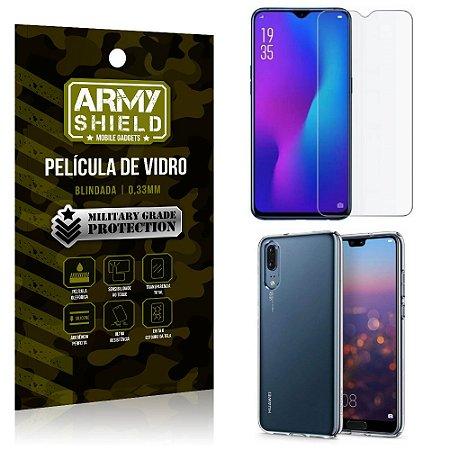 Kit Capa Silicone Huawei P30 Capa Silicone + Película de Vidro - Armyshield