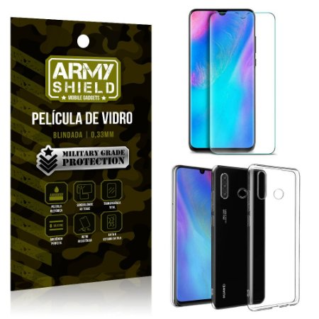 Kit Capa Silicone Huawei P30 Lite Capa Silicone + Película de Vidro - Armyshield