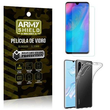 Kit Capa Silicone Huawei P30 Pro Capa Silicone + Película de Vidro - Armyshield