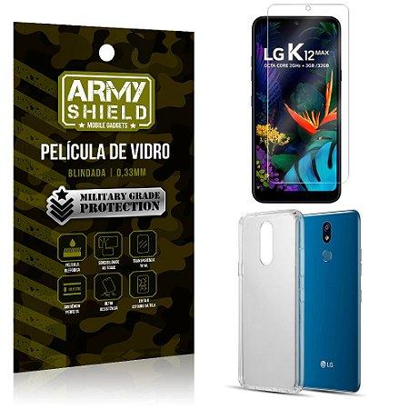 Kit Capa Silicone LG K12 Max Capa Silicone + Película de Vidro - Armyshield