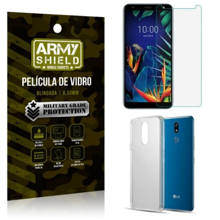 Kit Capa Silicone LG K12 K12 Plus Capa Silicone + Película de Vidro - Armyshield