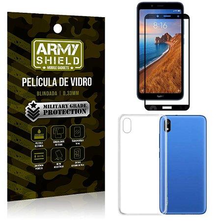 Kit Película de Vidro 3D Xiaomi Redmi 7A Película de Vidro 3D + Capa Silicone - Armyshield