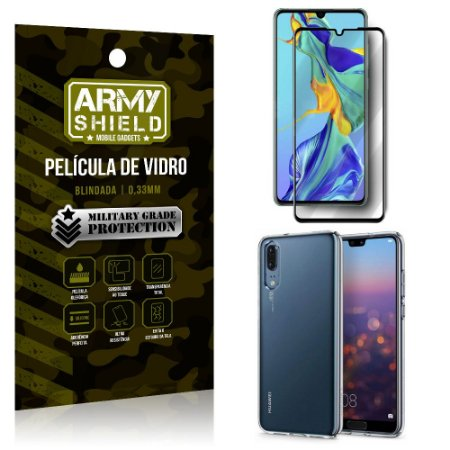 Kit Película de Vidro 3D Huawei P30 Película de Vidro 3D + Capa Silicone - Armyshield