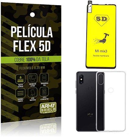 Kit Película Flex 5D Xiaomi Mi Mix 3 Cobre a tela toda Película Flex 5D + Capa TPU - Armyshield