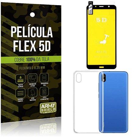 Kit Película Flex 5D Xiaomi Redmi 7A Cobre a tela toda Película Flex 5D + Capa TPU - Armyshield