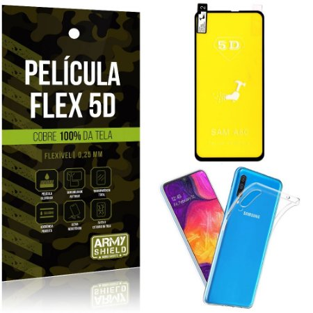 Kit Película Flex 5D Samsung A60 Cobre a tela toda Película Flex 5D + Capa TPU - Armyshield
