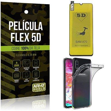 Kit Película Flex 5D Samsung A70 Cobre a tela toda Película Flex 5D + Capa TPU - Armyshield
