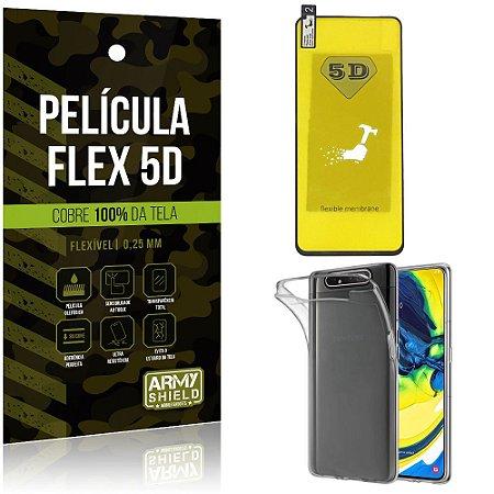 Kit Película Flex 5D Samsung A80 Cobre a tela toda Película Flex 5D + Capa TPU - Armyshield