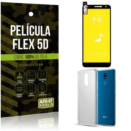Kit Película Flex 5D LG K12 K12 Plus Cobre a tela toda Película Flex 5D + Capa TPU - Armyshield