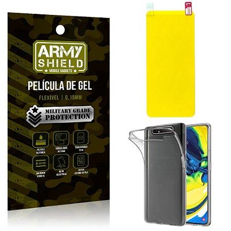 Kit Película de Gel Samsung A80 Película de Gel + Capa Silicone - Armyshield