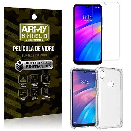 Kit Capa Anti Impacto Xiaomi Redmi 7 Capa Anti Impacto + Película de Vidro - Armyshield