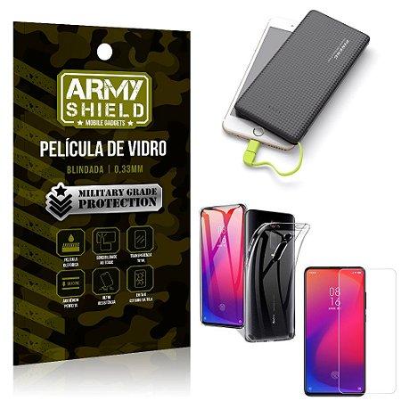 Kit Powerbank 10K Tipo C Redmi K20 Mi 9T Capa +Película Vidro +Powerbank 10000 mAh - Armyshield