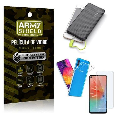 Kit Powerbank 10K Tipo C Samsung A60 Capa + Película Vidro + Powerbank 10000 mAh - Armyshield