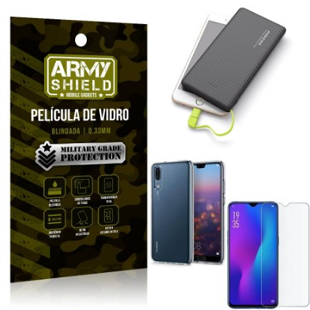 Kit Powerbank 10K Tipo C Huawei P30 Capa + Película Vidro + Powerbank 10000 mAh - Armyshield