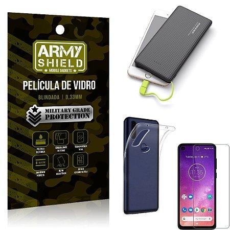 Kit Powerbank 10K Tipo C Motorola One Vision Capa + Película Vidro +Powerbank 10000 mAh - Armyshield