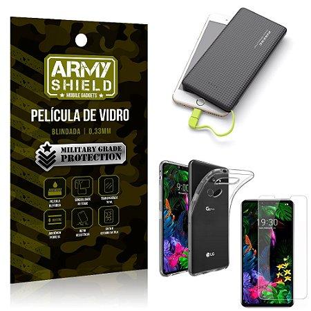 Kit Powerbank 10K Tipo C LG G8S Capa + Película Vidro + Powerbank 10000 mAh - Armyshield