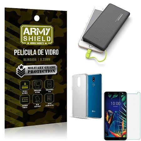 Kit Powerbank 10K LG K12 K12 Plus Capa + Película Vidro + Powerbank 10000 mAh - Armyshield