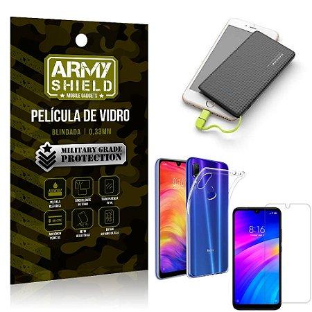 Kit Powerbank 5K Xiaomi Redmi 7 Capa + Película Vidro + Powerbank 5000 mAh - Armyshield