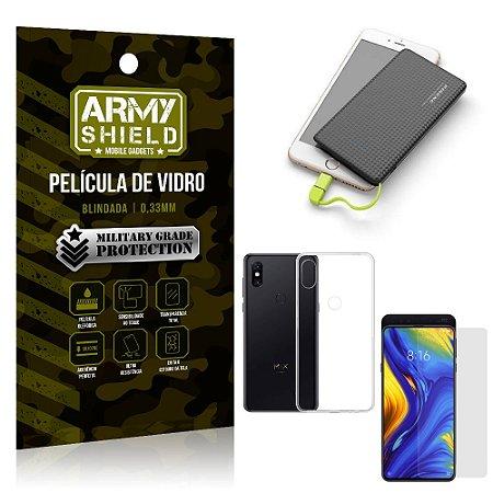 Kit Powerbank 5K Tipo C Xiaomi Mi Mix 3 Capa + Película Vidro + Powerbank 5000 mAh - Armyshield