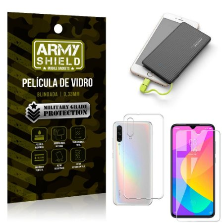 Kit Powerbank 5K Tipo C Xiaomi Mi A3 (CC9e) Capa + Película Vidro + Powerbank 5000 mAh - Armyshield