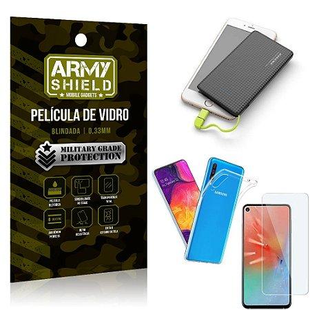 Kit Powerbank 5K Tipo C Samsung A60 Capa + Película Vidro + Powerbank 5000 mAh - Armyshield