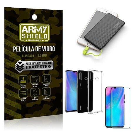 Kit Powerbank 5K Tipo C Huawei P30 Lite Capa + Película Vidro + Powerbank 5000 mAh - Armyshield