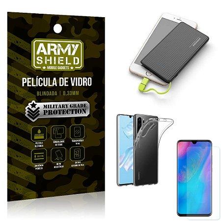 Kit Powerbank 5K Tipo C Huawei P30 Pro Capa + Película Vidro + Powerbank 5000 mAh - Armyshield