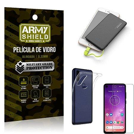 Kit Powerbank 5K Tipo C Motorola One Vision Capa + Película Vidro + Powerbank 5000 mAh - Armyshield