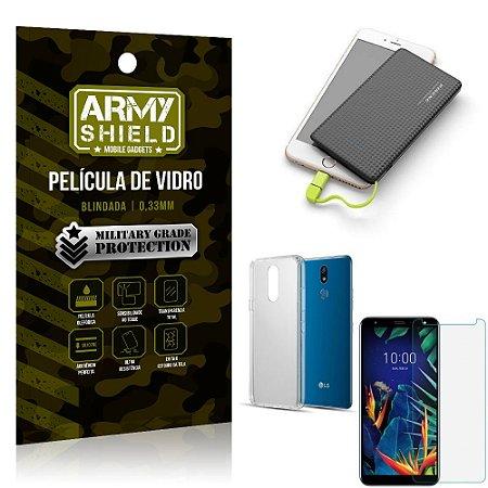 Kit Powerbank 5K LG K12 K12 Plus Capa + Película Vidro + Powerbank 5000 mAh - Armyshield