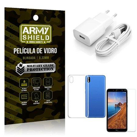 Kit Carregador Xiaomi Redmi 7A Carregador + Capa Silicone + Película Vidro - Armyshield